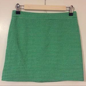 J. Crew Dot Dash Skirt- green with white stitch